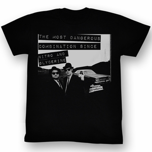 The Blues Brothers T-shirt Movie Danger Adult Black Tee Shirt
