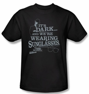 The Blues Brothers T-shirt Movie It's Dark Adult Black Tee Shirt