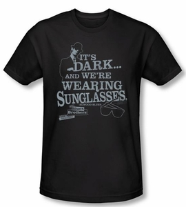 The Blues Brothers T-shirt Movie It's Dark Black Slim Fit Tee Shirt