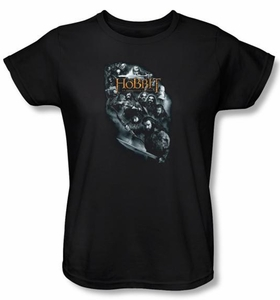 The Hobbit Ladies Shirt Movie Unexpected Journey Characters Black Tee