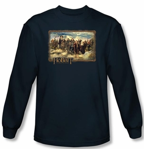 The Hobbit Shirt Movie Unexpected Journey Adult Navy Long Sleeve Tee