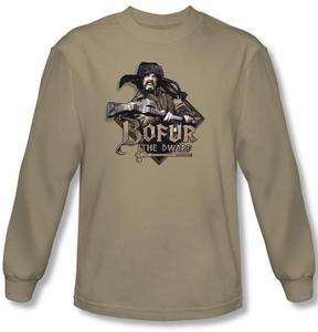 The Hobbit Shirt Movie Unexpected Journey Bofur Sand Long Sleeve Tee
