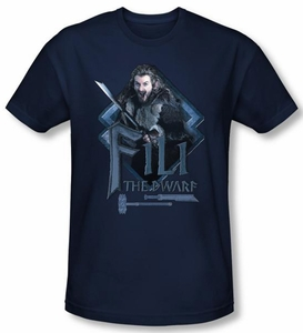 The Hobbit Shirt Movie Unexpected Journey Fili Navy Blue Slim Fit Tee