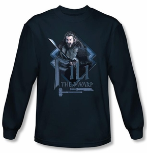 The Hobbit Shirt Movie Unexpected Journey Fili Navy Long Sleeve Tee