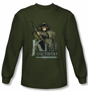 The Hobbit Shirt Movie Unexpected Journey Kili Green Long Sleeve Tee