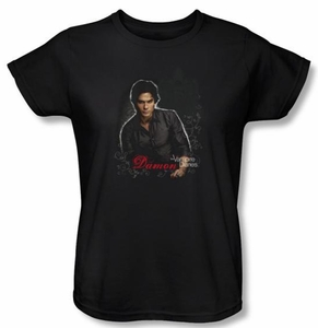 The Vampire Diaries Ladies T-shirt TV Show Damon Black Shirt