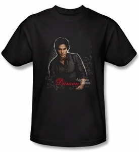 The Vampire Diaries T-shirt TV Show Damon Adult Black Tee Shirt