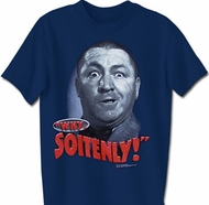 Three Stooges T-shirt Curly Why Soitenly Adult Funny Navy Tee Shirt