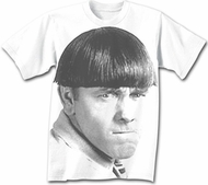 Three Stooges T-shirt Moe Big Face Adult Funny White Tee Shirt