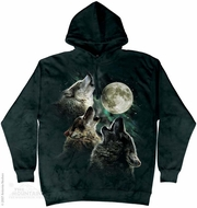 Three Wolves Howling Hoodie Tie Dye Adult Hooded Sweat Shirt Hoody