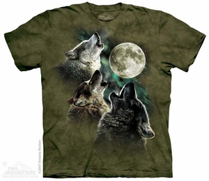 Three Wolves Howling Shirt Tie Dye Adult T-Shirt Tee