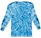 Tie Dye Kids Shirt Spider Baby Blue Long Sleeve Youth T-Shirt
