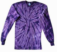 Tie Dye Kids Shirt Spider Purple Groovy Long Sleeve Youth T-Shirt