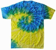 Tie Dye Kids Shirt Spiral Blue Yellow Youth Tee Shirt