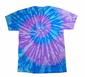 Tie Dye Kids Shirt Spiral Lavender Blue Youth Tee Shirt