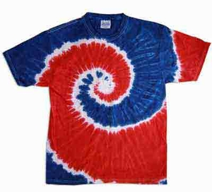 Tie Dye Kids Shirt Spiral Royal Red Youth Tee Shirt
