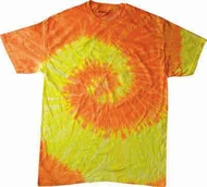 Tie Dye Kids Shirt Spiral Yellow Orange Youth Tee Shirt