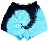 Tie Dye Kids Shorts Spiral Navy and Turquoise Youth Soffe Shorts