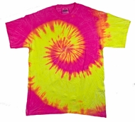 Tie Dye Kids T-shirt Fluorescent Swirl Yellow Pink Swirl Youth Shirt