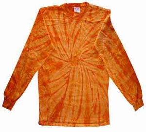 Tie Dye Long Sleeve Shirt Spider Orange Tee