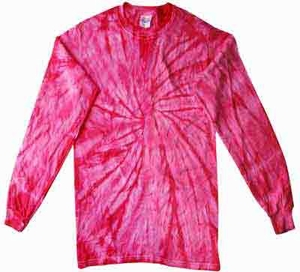 Tie Dye Long Sleeve Shirt Spider Pink Tee