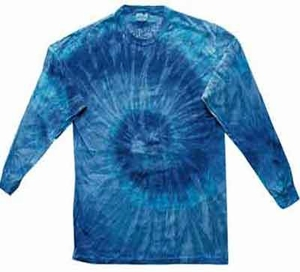 Tie Dye Shirt Blue Jerry Long Sleeve Tee Shirt