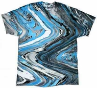 Tie Dye T-shirt Marble Blue Tiger Retro Vintage Groovy Adult Tee Shirt