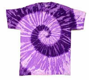 Tie Dye T-shirt Spiral Purple Retro Vintage Groovy Adult Tee Shirt