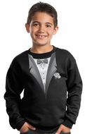 Tuxedo Kids Sweatshirt With White Flower - Black