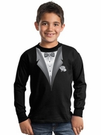 Tuxedo Kids T-shirt With White Flower  Long Sleeve Youth Tee - Black