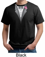 Tuxedo Organic T-shirt with Pink Flower Adult Tee Shirt
