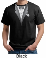 Tuxedo Organic T-shirt with White Flower Funny Adult Tee Shirt