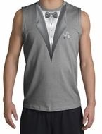 Tuxedo Shirt Shooter With White Flower Sports Grey Shirt