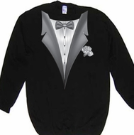 Tuxedo Sweatshirt With White Flower - Black