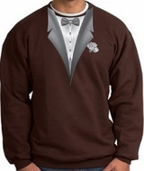 Tuxedo Sweatshirt With White Flower - Brown