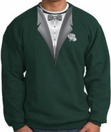 Tuxedo Sweatshirt With White Flower - Dark Green