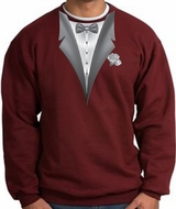 Tuxedo Sweatshirt With White Flower - Maroon