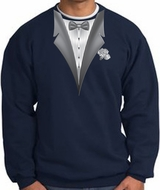 Tuxedo Sweatshirt With White Flower - Navy Blue