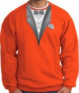 Tuxedo Sweatshirt With White Flower - Orange