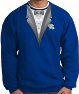 Tuxedo Sweatshirt With White Flower - Royal blue
