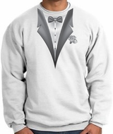 Tuxedo Sweatshirt With White Flower - White