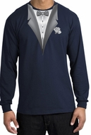 Tuxedo T-shirt Long Sleeve With White Flower - Navy Blue