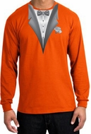 Tuxedo T-shirt Long Sleeve With White Flower - Orange