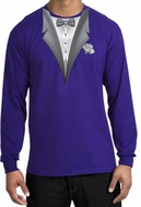 Tuxedo T-shirt Long Sleeve With White Flower - Purple