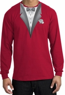 Tuxedo T-shirt Long Sleeve With White Flower - Red