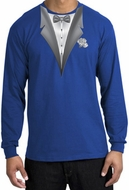 Tuxedo T-shirt Long Sleeve With White Flower - Royal Blue