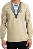 Tuxedo T-shirt Long Sleeve With White Flower - Sand