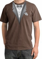 Tuxedo T-shirt Pigment Dyed With White Flower - Chestnut