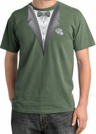 Tuxedo T-shirt Pigment Dyed With White Flower - Olive