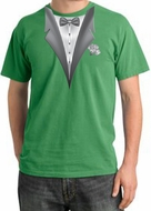 Tuxedo T-shirt Pigment Dyed With White Flower - Piper Green
